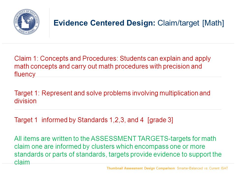 Evidence Centered Design: Claim/target [Math]